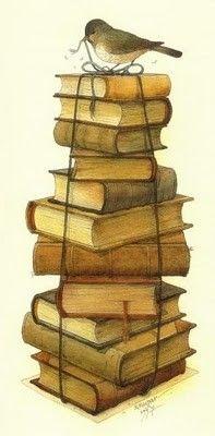 Books And Little Bird Acrylic Print by Kestutis Kasparavicius