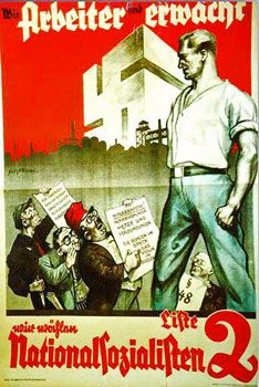 This poster shows a strong, alert German worker who won't let himself be fooled by the Marxist (the guy with the red hat) or the Jew whispering into his ear. These posters fueled the Germans mistrust of the Jewish people.