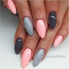 gelnägel natur rosa, lange spitze nägel, hellrosa in kombination mit grau You are in the right place about trendy nails Here we offer you the most bea Trendy Nails, Cute Nails, Long Pointed Nails, Hair And Nails, My Nails, Fall Nails, Cute Spring Nails, Cute Nail Art Designs, Grey Nail Designs