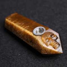 Natural Tiger Eye Crystal Pipe with Handcarved Skull Head (8-10cm) - Crystal pipes - #1 Crystal jewelry, Crystal accessories, Crystal decoration, Crystal smoking pipe in Canada.