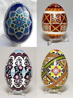 Pysanky (Ukrainian Easter Eggs). Very difficult to make but so beautiful!