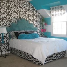 Blue and black teen girls room mix idea. Originally found at: http://www.houzz.com/teen-girl%27s-room/p/20