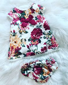 Stunning Baby Girl Flowery Dress Set With Matching Knickers. Sizes 6 Months - 24 Months. Matching Older Girl Dress Also Available. Perfect for Spring/Summer 2019.  Payment Plans Welcome (Orders Over £50)  #Spring/Summer19 #Babygirldresses #Flowers #Girlsdresses