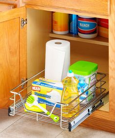 {Sliding Cabinet Organizer} Much better shot of the product. Hmmm... Love this concept.  Want these for the kitchen and both bathrooms.  I think I have the basket part already.