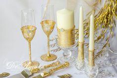 Gold & ivory wedding unity candle personalized unity от DiAmoreDS