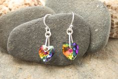 Swarovski earrings swarovski hearts silver by ThistledownWishes
