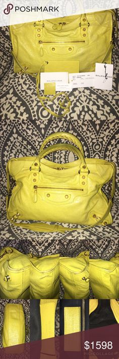 Balenciaga Arena Giant 12 City Yellow Bag She is a beautiful Balenciaga! I've loved her very much but she is no longer being used as much as she deserves and needs a new loving home! No major damage, matter of fact, she is in great shape! She does need a little cleaning in and out. Her handles have color, but not bad. The corners are scuffed but normal for a bag that has been loved! She comes with her tags. I have misplaced her dustbag. CHEAPER ON MERC AND TRADESY Balenciaga Bags Satchels