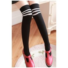 Hot Fashion Striped Print Knee High Socks (4.260 HUF) ❤ liked on Polyvore featuring intimates, hosiery, socks, striped knee socks, knee socks, stripe socks, knee high socks and striped knee high socks