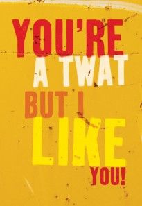 Twat But I Like You. General Greeting Card by Brainbox Candy. Send this card to someone who you like, even though they can be a bit of a doughnut sometimes. Yellow card that says you're a twat but I like you! Flirting Quotes Dirty, Flirting Texts, Flirting Humor, Funny Greeting Cards, Funny Cards, Rude Valentines Cards, Naughty Valentines, Funny Messages, Fathers Day Cards