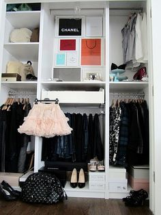 Ms. Moth's closet -- I love how she displays shopping bags in IKEA frames #closets #organization
