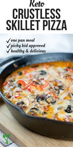 diet recipes This Crustless Skillet Pizza allows you to enjoy the flavors of pizza without all the heavy carbs. Made in one pan and loaded with protein, healthy fats and zesty vegetables, this healthy meal is naturally low-carb, primal and GAPS diet. Low Carb Pizza, Low Carb Keto, Low Carb Recipes, Diet Recipes, Healthy Recipes, Avocado Recipes, Paleo Food, Recipes Dinner, Paleo Diet