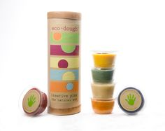 Ecodough. It's an all natural dough made with plant, fruit, and veggie extracts and no chemicals, metals, or artificial dyes. And both the dough and the container are compostable.