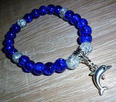 Kék delfines roppantott üveggyöngy karkötő