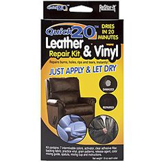 Re-Stor It Quick 20 Leather And Vinyl Repair Kit-. RESTOR-IT-Leather holes; and tears on leather and vinyl. Use to repair: briefcases; Diy Leather Repair, Leather Furniture Repair, Bonded Leather Repair, Kit, Faux Leather Couch, Paint Leather, Color Mixing Guide, Leather Restoration, Car Restoration