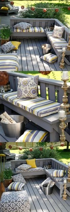 If your deck is smaller in size, save space with built-in seating but go ahead and jazz it up with colorful cushions, string lights or candles.