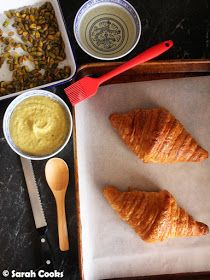 Buttery croissants are filled and topped with a luscious, vibrantly green, pistachio mixture, then baked until golden. Almond Croissant, Croissant Recipe, Tray Bakes, Pistachio, Baked Goods, Sweet Treats, Baking, Breakfast, Ethnic Recipes