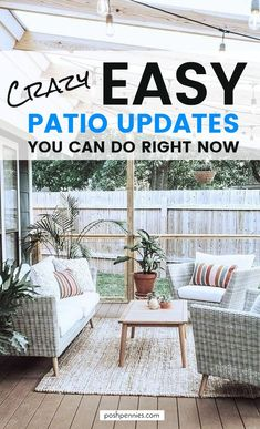 11 fast and affordable tips to get your patio updated in time for this summer. Get ready to be the outdoor host with the most with these great ideas! Awesome patio decorating tips you should definitely save for later ; Trendy Furniture, Outdoor Furniture Sets, Furniture Design, Outdoor Decor, Outdoor Spaces, Outdoor Balcony, Rustic Pergola, Patio Umbrellas, Patio Design