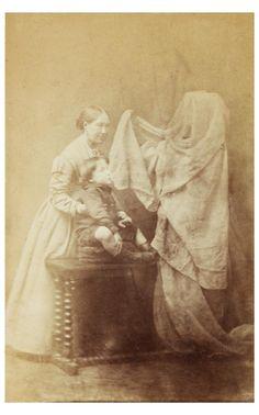 Spirit photograph by Frederick Hudson (c.1872) depicting Georgiana Houghton…