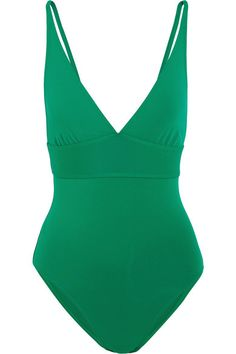 Eres' 'Larcin' swimsuit is made from the label's signature peau douce fabric – it's soft, springy and sculpting. This timeless style is designed with a plunging neckline, triangle cups and a wide supportive underband that's ideal for larger busts. The bright green hue flatters all skin tones.