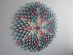 Modern home decor Round wall art Teal wall decor Modern decor for bedroom livin groom hallway bathroom Imagination and modern art combine in this incredible d Hanging Flower Wall, Paper Flower Wall, Paper Flowers, Teal Wall Decor, Modern Wall Decor, Modern Art, White Decor, Toilet Paper Roll Art, Toilet Paper Roll Crafts