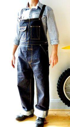 Mens Denim overalls 1930 style vintage cut heavy japanese selvedge denim called the Boilermaker coming soon on SJC kickstarter