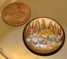 Antique Japanese Satsuma Irises Button,  c. 1880-1920. This is a Japanese porcelain button that is hand painted with Iris flowers. The button is signed on the back.