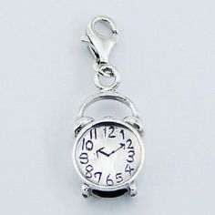 Silver charm sterling silver alarm clock charm w lobster clasp 31mm height PSA