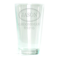 Pub Glass - 16oz - Oval with Name Personalized with Dates