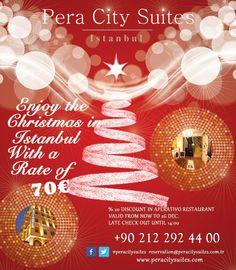 Pera City Suites;  Enjoy the christmas in Istanbul with a rate of 70€  #peracitysuites #istanbul #taksim #eğlence #konaklama #taksimotelleri #taksimperacitysuites