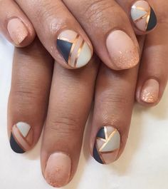 The rose gold accents in this matte manicure are so gorgeous. I love the ombré designs.