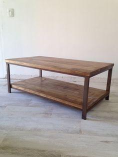 Mesa de centro tapa doble madera y hierro - Taller La Reciclera Pallets, Ideas Para, Dining Bench, Loft, Tips, Furniture, Home Decor, Cedar Trees, Iron Table