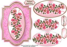 Pink Petunias Fancy Shaped Card Front