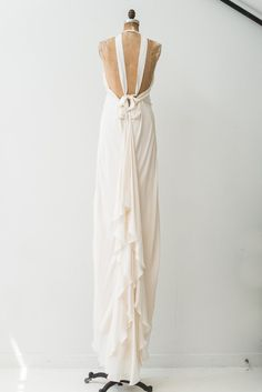 RENTAL Silk Chiffon Halter Backless Gown - S | G O S S A M E R Silk Crepe, Silk Chiffon, Simple Dresses, Formal Dresses, Wedding Dresses, Engagement Photo Dress, Backless Gown, Dress Rental, Fashion Outfits