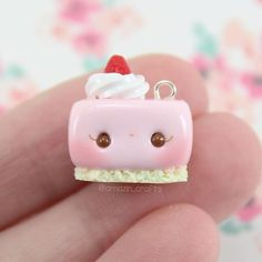Today I have this kawaii strawberry thing Its the first charm I made in a month and I decided to try something new and add eye lashes I made some more charms to put on Etsy and they will be listed on Saturday