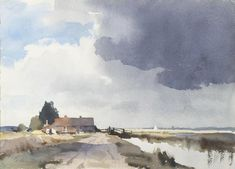 Marsh Country Norfolk by Edward Seago on Curiator, the world's biggest collaborative art collection. Watercolor Clouds, Watercolor Artists, Watercolor Landscape, Watercolor And Ink, Watercolor Illustration, Watercolour Painting, Landscape Art, Painting & Drawing, Landscape Paintings
