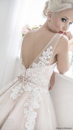 house of mooshki 2017 bridal sleeveless v neck heavily embellished bodice romantic pink color tea length short wedding dress open v back (isadora) zbv -- House of Mooshki 2017 Wedding Dresses