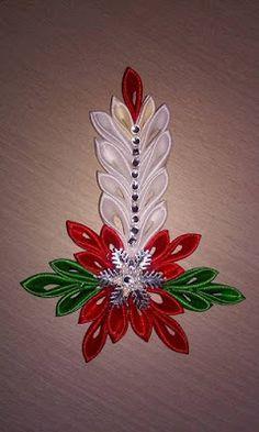 Idea for quilling Felt Christmas Decorations, Diy Christmas Ornaments, Handmade Christmas, Holiday Crafts, Christmas Candle, Christmas Items, Christmas Christmas, Ribbon Art, Ribbon Crafts