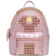 Mcm Women Mini Stark Studded Leather Backpack ($2,265) ❤ liked on Polyvore featuring bags, backpacks, pink, mini rucksack, day pack backpack, mini bag, pink bag and backpack bags