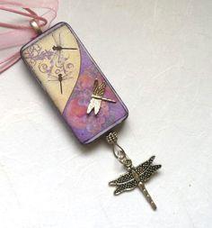 Purple Dragonfly Dreams Altered Domino Necklace via Etsy