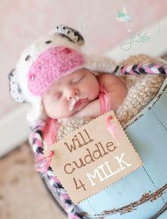 Will cuddle for milk - too cute not to pin! crochet