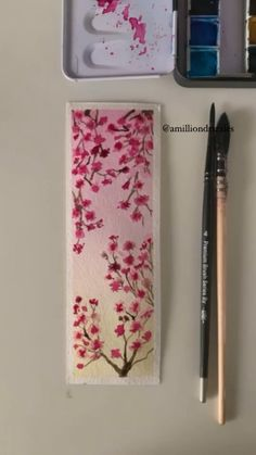Cute Canvas Paintings, Canvas Painting Tutorials, Painting Techniques, Watercolor Art Lessons, Watercolor Paintings, Watercolour, Watercolor Bookmarks, Watercolor Flowers, Diy Bookmarks
