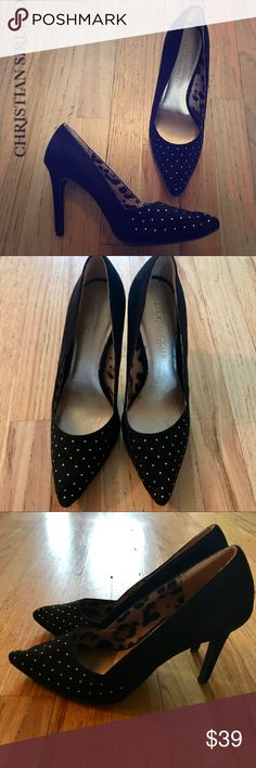"""Christian Siriano Black 4"""" Heels with Gold Stones Christian Siriano Black 4"""" Heels with Gold Stones around toe. Excellent pre-owned condition!! Gorgeous pair of black kitten heels!! Christian Siriano Shoes Heels"""