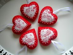 HandmadeRomantic lace red hearts for Valentine's by Lilamina, $20.00
