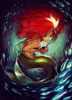 Little Mermaid's Ariel cartoon illustration via www.Facebook.com/DisneylandForMisfits