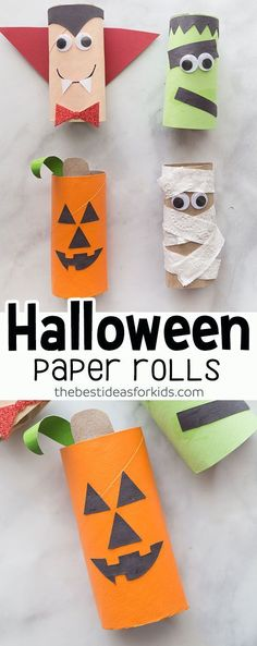 Halloween Craft for Kids - Halloween Toilet Paper Roll craft is easy and fun to make for Hallowen! Kids will love making these. These are perfect for toddlers and preschoolers. ideas for kids crafts Halloween Toilet Paper Roll Crafts Kids Crafts, Jar Crafts, Fun Diy Crafts, Toddler Crafts, Preschool Crafts, Kids Diy, Stick Crafts, Toddler Food, Resin Crafts