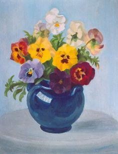 Dirk Smorenberg (1883-1960), Pansies in a Vase. Oil on board Piet Mondrian, Bunch Of Flowers, His Travel, Water Lilies, Lake District, Pansies, Art Deco, Vase, Artist