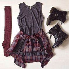 Gray Dress, Plaid Shirt, Thigh High Socks & Combat Boots Outfit.