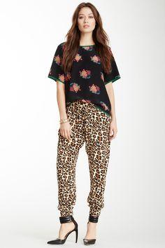 mixed print, cuffed silk pants