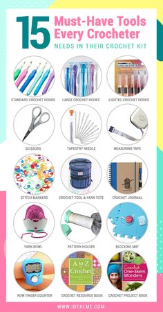 Here's 15 Must Have Tools Every Crocheter Needs. We've compiled a list of all the must-have tools that every crocheter should have in their crochet kit. See what crochet tools you need to add to your kit now. Crochet 101, Crochet Tools, Crochet Supplies, Crochet Basics, Learn To Crochet, Crochet Crafts, Crochet Yarn, Crochet Stitches, Crochet Projects