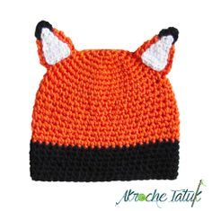 CROCHET - HAT / BONNET / MUTS - SCOODIE / RENARD / VOS -Tuque oreilles de renard / Ears crochet fox hat